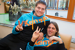 Marko Bezjak and Dean Bombac at press conference of Slovenian Handball Men National Team, on January 13, 2011, in Zrece, Slovenia. (Photo by Vid Ponikvar / Sportida)