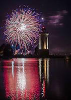 fireworks at the Fond du Lac lighthouse. July 4, 2016. Patrick Flood Photography