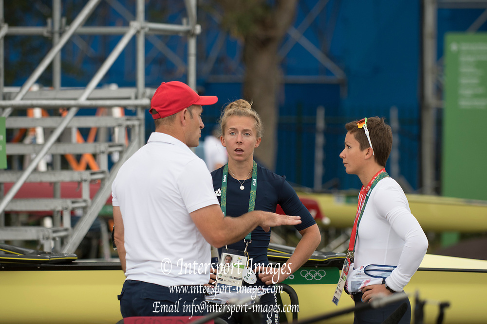 Rio de Janeiro. BRAZIL.  GBR LW2X. chat before the start of the days prgramme, left to roight, Paul REEDY, Kat COPELAND and Charlotte TAYLOR.  2016 Olympic Rowing Regatta. Lagoa Stadium,<br /> Copacabana,  &ldquo;Olympic Summer Games&rdquo;<br /> Rodrigo de Freitas Lagoon, Lagoa.   Monday  08/08/2016 <br /> <br /> [Mandatory Credit; Peter SPURRIER/Intersport Images]