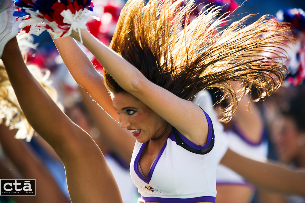 The Ravens' cheerleadeers perform as Baltimore beat the Oakland Raiders 55-20 at M&T Bank Stadium.