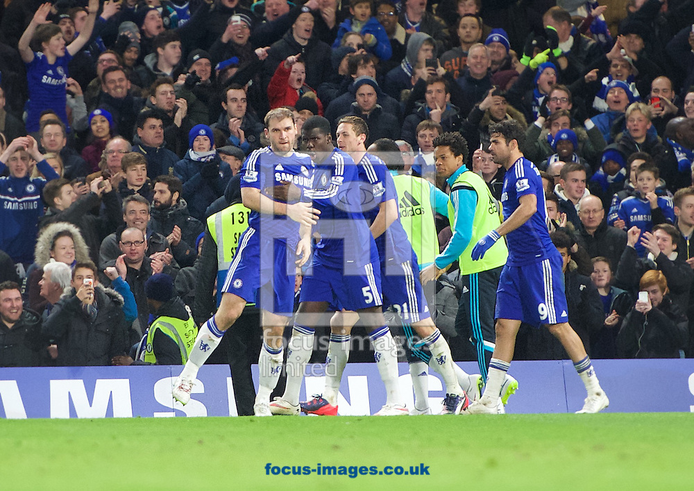 Branislav Ivanovic (left) of Chelsea celebrates with his team mates after scoring the opening goal in extra time during the Capital One Cup match at Stamford Bridge, London<br /> Picture by Alan Stanford/Focus Images Ltd +44 7915 056117<br /> 27/01/2015