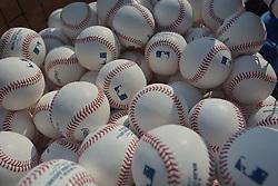 Sep 20, 2014; Kansas City, MO, USA; A general view of practice baseballs before the game between the Kansas City Royals and Detroit Tigers at Kauffman Stadium. Mandatory Credit: Denny Medley-USA TODAY Sports