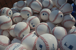 Sep 20, 2014; Kansas City, MO, USA; A general view of practice baseballs before the game between the Kansas City Royals and Detroit Tigers at Kauffman Stadium. Mandatory Credit: Denny Medley-USA TODAY Sports