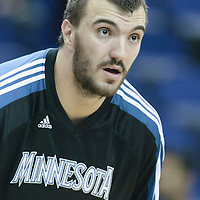 04 October 2010: Minnesota Timberwolves' Nikola Pekovic #14 is seen during the Minnesota Timberwolves 111-92 victory over the Los Angeles Lakers, during 2010 NBA Europe Live, at the O2 Arena in London, England.