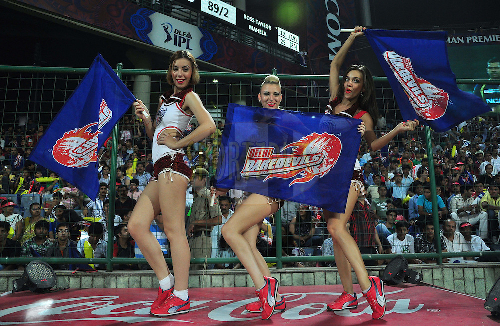 Delhi Daredevils cheer leaders pose for a picture during match 51 of the the Indian Premier League ( IPL) 2012  between The Delhi Daredevils and the Kolkata Knight Riders held at the Feroz Shah Kotla, Delhi on the 7th May 2012..Photo by Arjun Panwar/IPL/SPORTZPICS