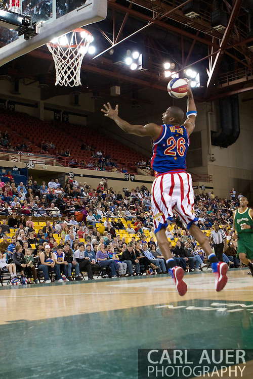 April 30th, 2010 - Anchorage, Alaska:  Harlem Globetrotters Hi-Lite Bruton gives the fans at the Sullivan Arena and the Washington Generals a lesson on dunking Friday night.