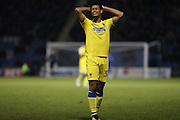 AFC Wimbledon striker Lyle Taylor (33) looks frustrated, looks dejected during the EFL Sky Bet League 1 match between Gillingham and AFC Wimbledon at the MEMS Priestfield Stadium, Gillingham, England on 21 February 2017.