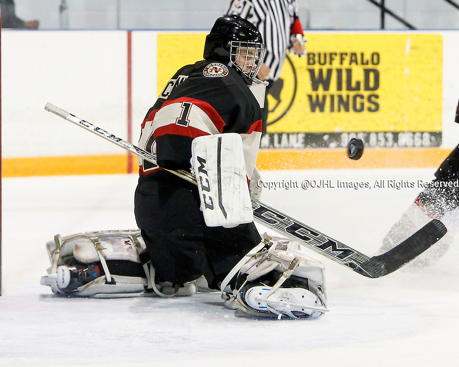 NEWMARKET, ON - Oct 8, 2015 : Ontario Junior Hockey League game action between Orangeville and Newmarket, Connor Ryckman #1 makes the save during the first period.<br /> (Photo by Brian Watts / OJHL Images)