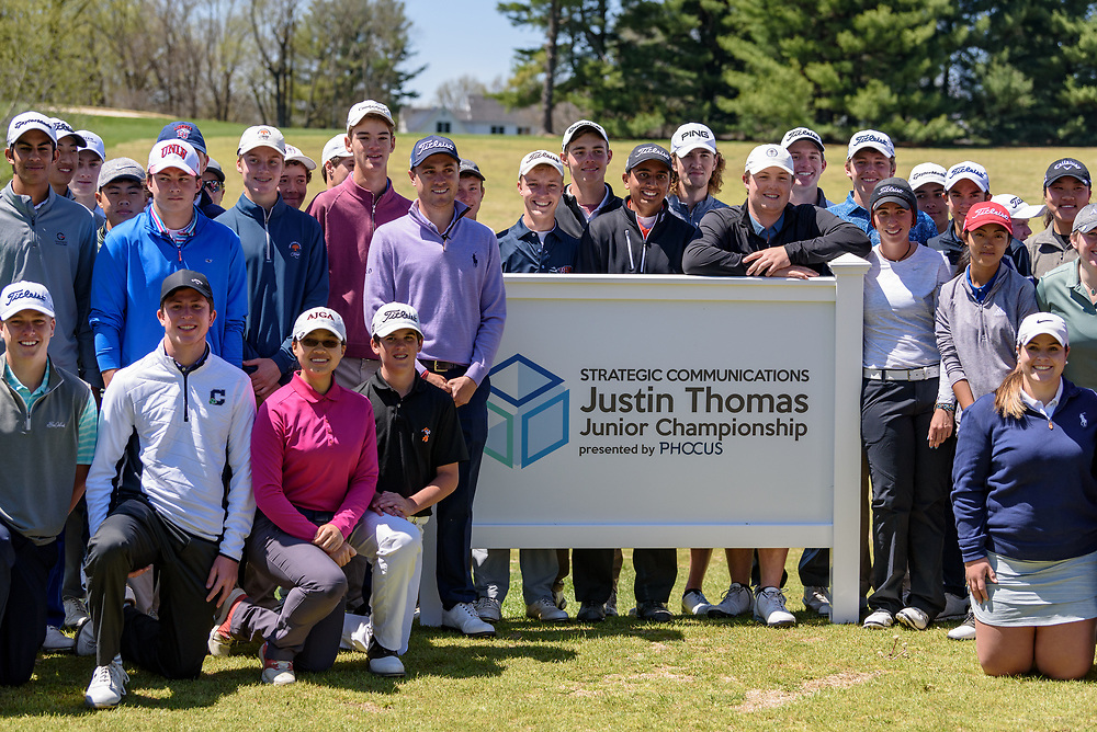 After the clinic, group photos are made with Justin Thomas as he hosts the Strategic Communications/Justin Thomas Junior Championship presented by Phocus at Harmony Landing Country Club Friday, April 20, 2018, in Goshen, Ky. (Photo by Brian Bohannon)