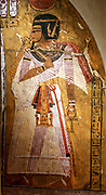Representation of the defied Pharaoh Amenhotep 1. New Kingdom, 20th dynasty, 1152-1145 BC Thebes. Painting on stucco