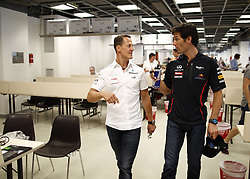 10642854<br />  Formula 1 GP Monaco Grand Prix,  Mark Webber and Michael Schumacher at the Monaco Grand Prix, Wednesday May 23, 2012. Photo by imago/i-Images<br /> <br /> File Photo - Michael Schumacher 'no longer in a coma and has left Grenoble hospital' says his manager. Photo filed Monday June 16 2014.