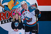 KELOWNA, CANADA - FEBRUARY 14:  Home Hardware Stick Girl with Kyle Topping #24 of the Kelowna Rockets at the Kelowna Rockets game on February 14, 2018 at Prospera Place in Kelowna, British Columbia, Canada.  (Photo By Cindy Rogers/Nyasa Photography,  *** Local Caption ***
