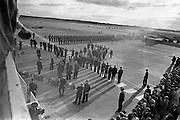 President John F. Kennedy arrives at Dublin Airport. He is greeted by President Eamon de Valera as he steps fom the plane.  An Taoiseach Seán Lemass waits to greet him.<br /> 26.06.1963