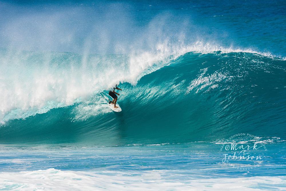 Koa Rothman surfing at the Banzai Pipeline, North Shore, Oahu, Hawaii