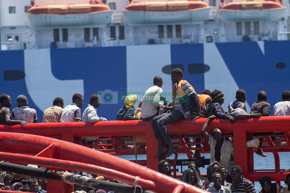 May 28, 2017 - Palermo, Italy - A rescue ship docked in the Sicilian capital Palermo on May 28, 2017 carrying over 1,000 migrants and the bodies of seven people who perished during the crossing from North Africa. Prosecutors requested autopsies to be carried out on the corpses. (Credit Image: © Antonio Melita/Pacific Press via ZUMA Wire)