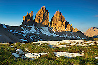 Mountain impression Tre Cime - Europe, Italy, South Tyrol, Sexten Dolomites, Tre Cime - Sunrise - July 2009 - Mission Dolomites Tre Cime