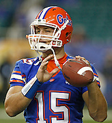 Florida QB Tim Tebow during the SEC Championship game between the Arkansas Razorbacks and the Florida Gators at the Georgia Dome in Atlanta, GA on December 2, 2006.<br />