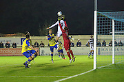 Solihill Moors goalkeeper Daniel Lewis(1) beats Forest Green Rovers Christian Doidge(9) to a cross during the Vanarama National League match between Solihull Moors and Forest Green Rovers at the Automated Technology Group Stadium, Solihull, United Kingdom on 25 October 2016. Photo by Shane Healey.