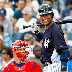March 11, 2012; Tampa Bay, FL, USA; New York Yankees shortstop Derek Jeter (2) at bat during the bottom of the third inning of a spring training game against the Philadelphia Phillies at George M. Steinbrenner Field. Mandatory Credit: Derick E. Hingle-US PRESSWIRE