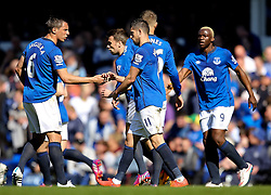 Everton's Kevin Mirallas celebrates after scoring the opening goal to make it 1-0 - Photo mandatory by-line: Matt McNulty/JMP - Mobile: 07966 386802 - 18/04/2015 - SPORT - Football - Liverpool - Goodison Park - Everton v Burnley - Barclays Premier League