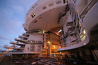 Oasis of the Seas. Float Out, Turku, Finland..Royal Caribbean's Oasis of the Seas the worlds largest cruise ship, enters final construction phase  at STX ship yard in Finland..Aqua Theatre.