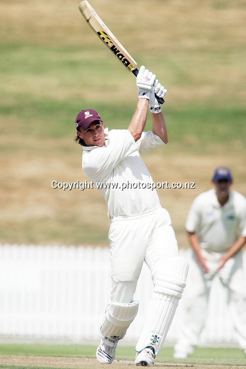 Graeme Aldridge smashes a four during the State Championship cricket match between the Northern Knights and the Otago Volts at Seddon Park, Hamilton, New Zealand on Tuesday 6 March 2007. Photo: Hannah Johnston/PHOTOSPORT<br />