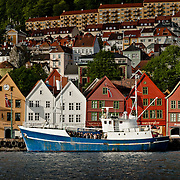 Three weeks aboard the Kong Harald. Hurtigruten, the Coastal Express. Bergen. Hanseatic wharf Bryggen in Bergen