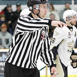 TRENTON, - Apr 2, 2016 -  Ontario Junior Hockey League game action between the Trenton Golden Hawks and the Kingston Voyageurs. Game 3 of the North East Champonship series, OHA Linesman during the second period at the Duncan Memorial Gardens, ON. (Photo by Amy Deroche / OJHL Images)