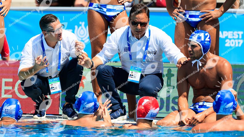 coach Thodoris Vlachos of Greece<br /> Spain (White cap) vs Greece (Blue Cap) Water Polo - Preliminary round<br /> Day 04 17/07/2017 <br /> XVII FINA World Championships Aquatics<br /> Alfred Hajos Complex Margaret Island  <br /> Budapest Hungary July 15th - 30th 2017 <br /> Photo @Marcelterbals/Deepbluemedia/Insidefoto Photo @Marcelterbals/Deepbluemedia/Insidefoto