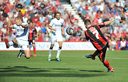 Bournemouth's Marc Pugh takes a shot inside the box but fails to score. - Photo mandatory by-line: Alex James/JMP  - Tel: Mobile:07966 386802 03/08/2013 -Bournemouth vs Charlton Athletic  - SPORT - FOOTBALL -  Dean Court-Bournemouth - Charlton Athletic -