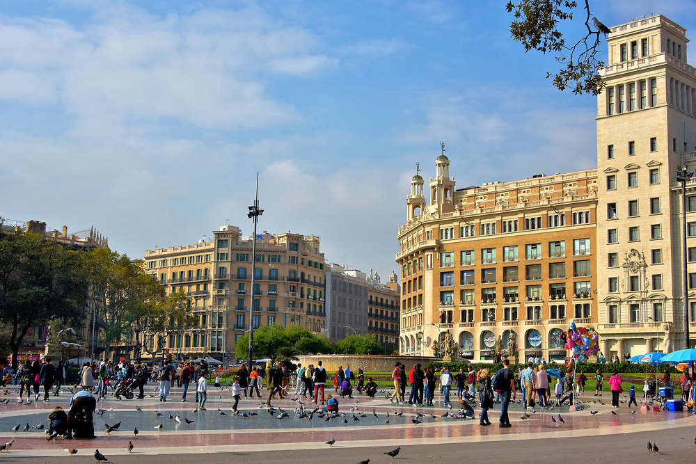 Plaza Catalunya in Barcelona, Spain<br />