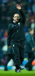 BLACKBURN, ENGLAND - Thursday, January 14, 2010: Aston Villa's manager Martin O'Neill celebrates his side's 1-0 victory over Blackburn Rovers during the Football League Cup Semi-Final 1st Leg at Ewood Park. (Photo by David Rawcliffe/Propaganda)