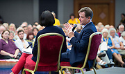 Liberal Democrats Autumn Conference in Brighton, East Sussex 17th September 2018 <br /> <br /> Nick Clegg <br /> Interview with Guardian journalist Heather Stewart <br /> <br /> Former deputy prime minister Nick Clegg <br /> <br /> Photograph by Elliott Franks