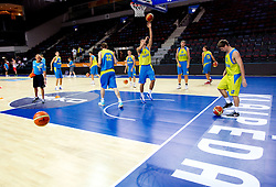 Players during practice session of Ukraine's National basketball team 1 day before Eurobasket Lithuania 2011, on August 29, 2011, in Arena Svyturio, Klaipeda, Lithuania. (Photo by Vid Ponikvar / Sportida)