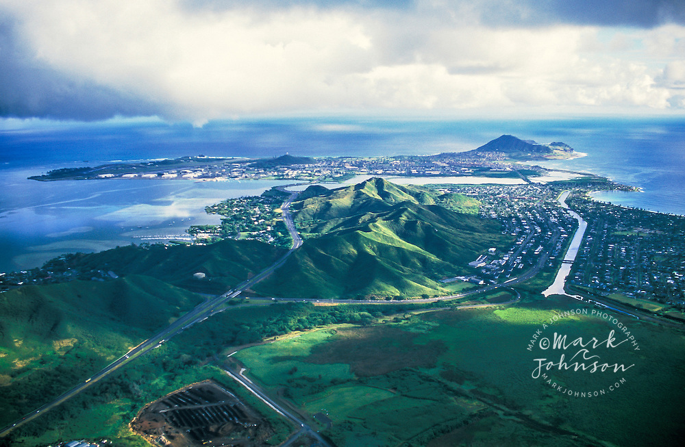 Aerial of H-3 Freeway leading to Kaneohe Marine Base Hawaii, Oahu, Hawaii