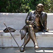 The main statue of the George Mason Memorial. The memorial was dedicated in 2002 and sits between the Jefferson Memorial and the Potomac. It commemorates the work of one of the founding fathers and the author of the Virginia Declaration of Rights.