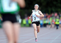 20 Aug 2016:  Maeve Mooney, from Sligo, heads for the finish line in the final leg of the Girls U14 4x100 Relay.   2016 Community Games National Festival 2016.  Athlone Institute of Technology, Athlone, Co. Westmeath. Picture: Caroline Quinn