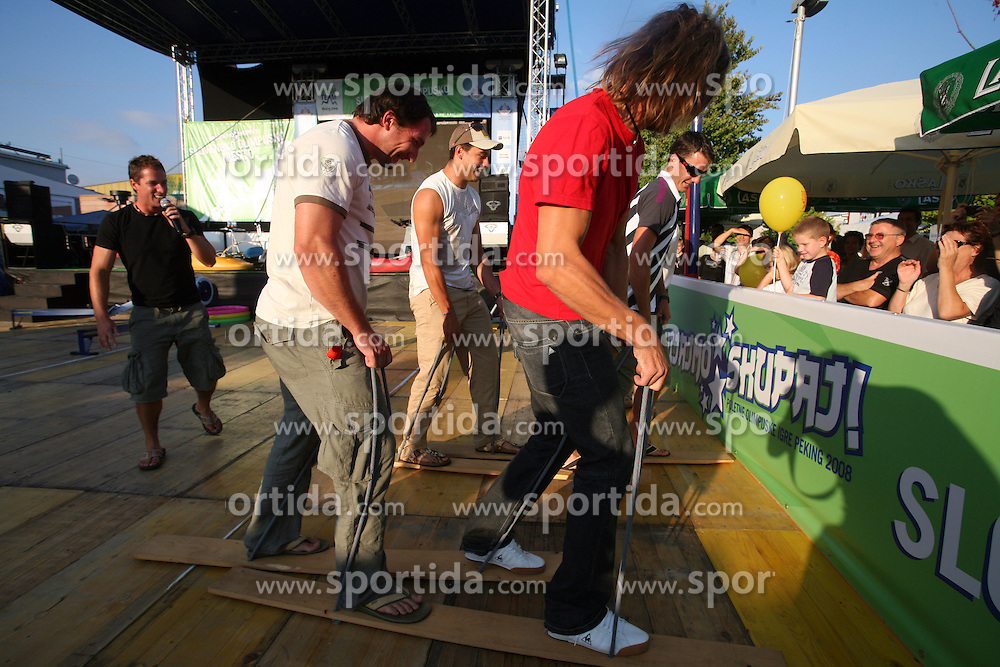 Luka Spik, Athlete Primoz Kozmus, Rok Rozman and Miha Pirih at welcome ceremony in Olympic City BTC, on August 21, 2008, in Alea Mladih, BTC, Ljubljana, Slovenia. (Photo by Vid Ponikvar / Sportal Images)./ Sportida)
