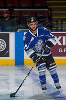 KELOWNA, CANADA - DECEMBER 30: Dante Hannoun #19 of the Victoria Royals warms up with the puck against the Kelowna Rockets on December 30, 2016 at Prospera Place in Kelowna, British Columbia, Canada.  (Photo by Marissa Baecker/Shoot the Breeze)  *** Local Caption ***