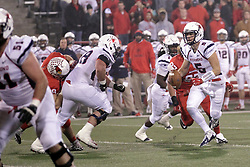 11 December 2015:  Teddy Corwin(87) looks to get hold of Kyle Lauletta. NCAA FCS Quarter Final Football Playoff game between Richmond Spiders and Illinois State Redbirds at Hancock Stadium in Normal IL (Photo by Alan Look)