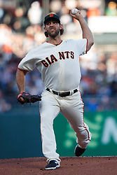 SAN FRANCISCO, CA - AUGUST 13: Madison Bumgarner #40 of the San Francisco Giants pitches against the Oakland Athletics during the first inning at Oracle Park on August 13, 2019 in San Francisco, California.  (Photo by Jason O. Watson/Getty Images) *** Local Caption *** Madison Bumgarner