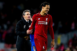 Leicester City manager Claude Puel shakes hands with Virgil van Dijk of Liverpool - Mandatory by-line: Robbie Stephenson/JMP - 30/01/2019 - FOOTBALL - Anfield - Liverpool, England - Liverpool v Leicester City - Premier League
