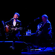 Lyle Lovett (L) and John Hiatt perform at The Music Hall in Portsmouth, NH, April 29, 2015
