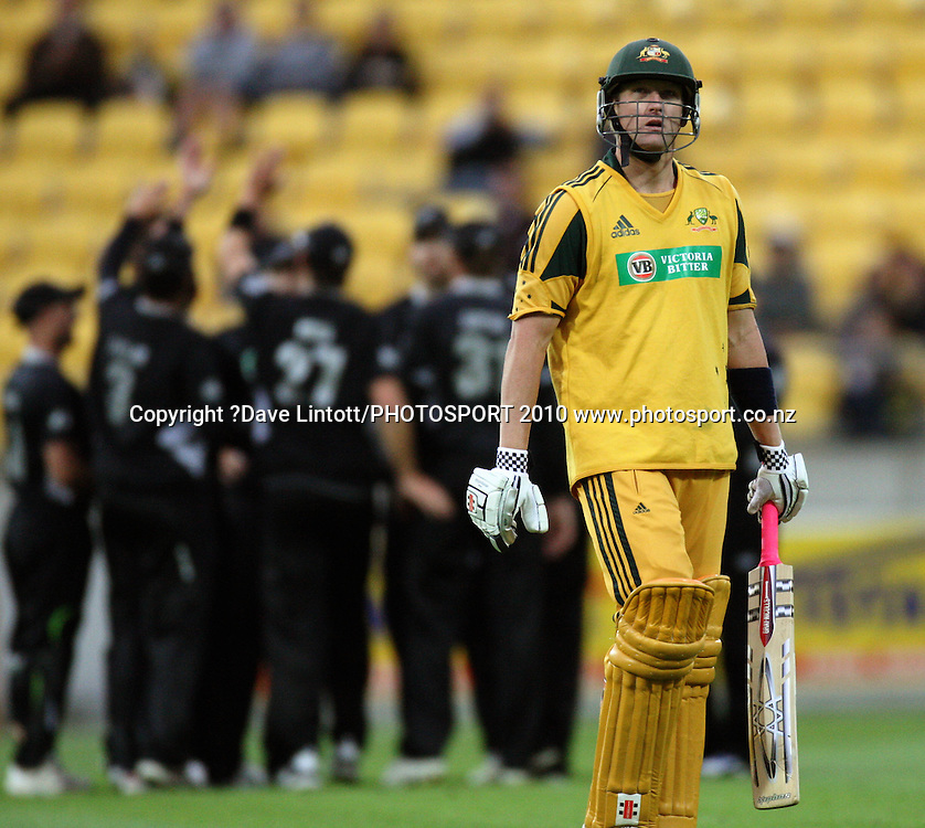 Australia's Cameron White walks off after being caught by Daniel Vettori.<br /> Fifth Chappell-Hadlee Trophy one-day international cricket match - New Zealand v Australia at Westpac Stadium, Wellington. Saturday, 13 March 2010. Photo: Dave Lintott/PHOTOSPORT