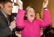 155483 155519 elex-dems elex-countyattorney -- 04 NOVEMBER 2008 -- Arizona Governor Janet Napolitano (CQ) reacts to word that Barack Obama had won the electoral vote at the Democratic party's election watch party at the Wyndham Hotel in Phoenix.  PHOTO BY JACK KURTZ