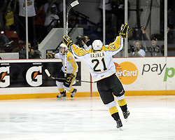 Toni Rajala of the brandon Wheat Kings celebrates a goal in the semi-final game of the 2010 MasterCard Memorial Cup in Brandon, MB on Friday May 21. Photo by Aaron Bell/CHL Images