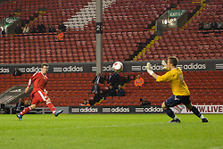 LIVERPOOL, ENGLAND - Friday, April 24, 2009: Liverpool's Alexander Kacaniklic scores the second goal against Birmingham City during the FA Youth Cup Semi-Final 2nd Leg match at Anfield. (Pic by David Tickle/Propaganda)