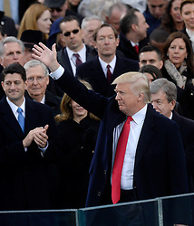 President Donald Trump waves after taking the Oath of office during the 58th Presidential Inauguration on January 20, 2017 in Washington, DC..Photo by Olivier Douliery/Abaca