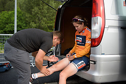 Karol-Ann Canuel gets a pre-race massage at La Course 2017 - a 67.5 km road race, from Briancon to Izoard on July 20, 2017, in Hautes-Alpes, France. (Photo by Sean Robinson/Velofocus.com)