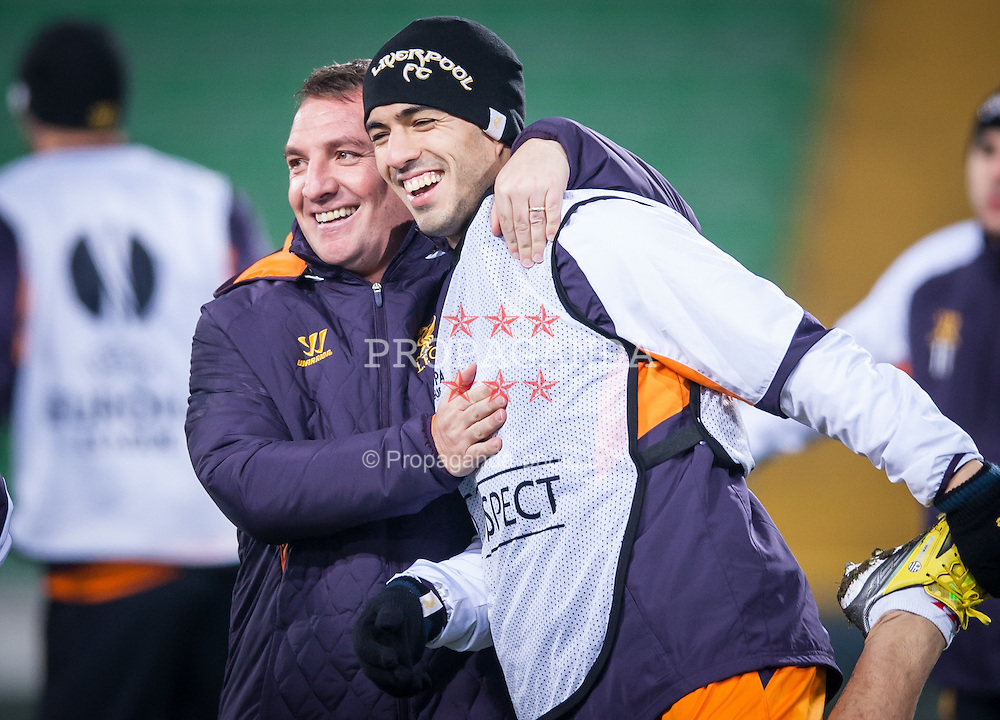 05.12.2012, Stadio Friuli, Udine, ITA, UEFA EL, Udinese Calcio vs FC Liverpool, Gruppe A, Training, FC Liverpool, im Bild Brendan Rodgers (Trainer, Liverpool FC), Luis Suarez (# 07, Liverpool FC) // Brendan Rodgers (Trainer, Liverpool FC), Luis Suarez (# 07, Liverpool FC) during Training of Liverpool FC before the UEFA Europa League group A match between Udinese Calcio and Liverpool .FC at the Stadio Friuli, Udinese, Italy on 2012/12/05. EXPA Pictures © 2012, PhotoCredit: EXPA/ Juergen Feichter